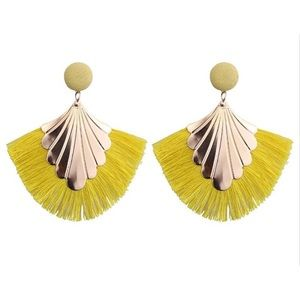 Boutique Yellow Fringe Boho Statement Earrings